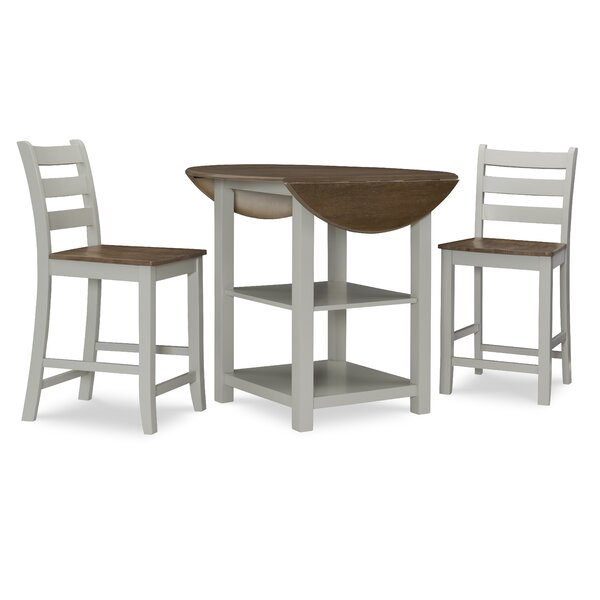 Ernbiorn 3 Piece Counter Height Drop Leaf Solid Wood Dining Set by Gracie Oaks Gracie Oaks