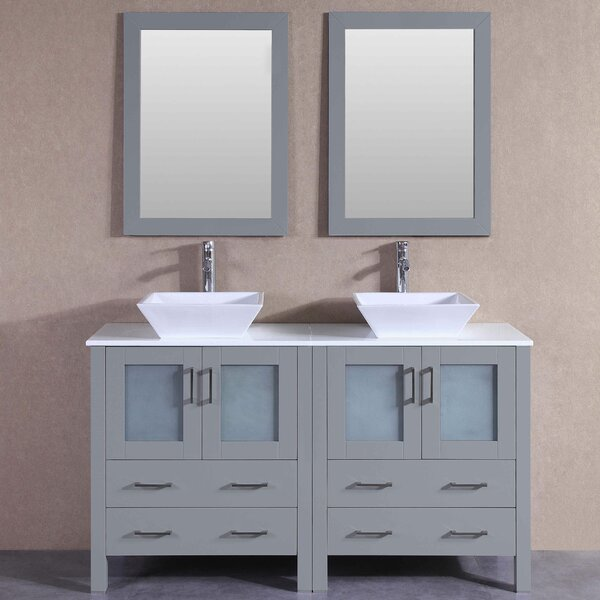 Annabel 59 Double Bathroom Vanity Set with Mirror by Bosconi