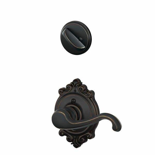 Interior Handleset Callington Lever and Interior Single Cylinder Deadbolt Thumbturn with Brookshire Trim by Schlage