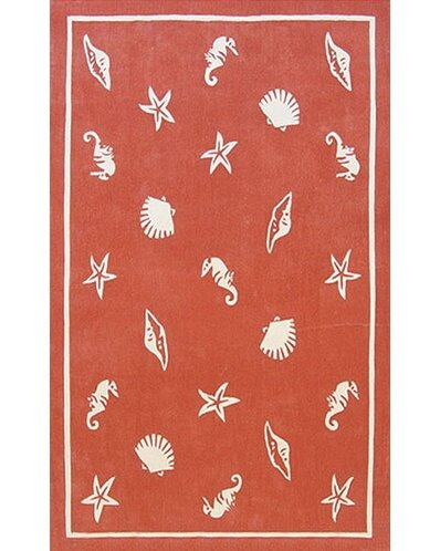 Beach Rug Coral Shells and Seahorses Novelty Rug by American Home Rug Co.