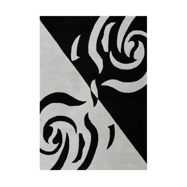 Genevieve Hand Woven Wool Gray/Black Indoor Area Rug by Bloomsbury Market