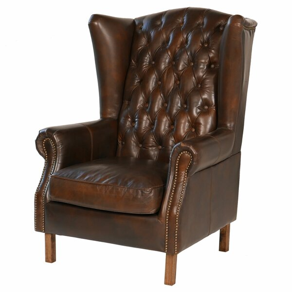 Old World Antique Leather Wingback Chair by Joseph Allen