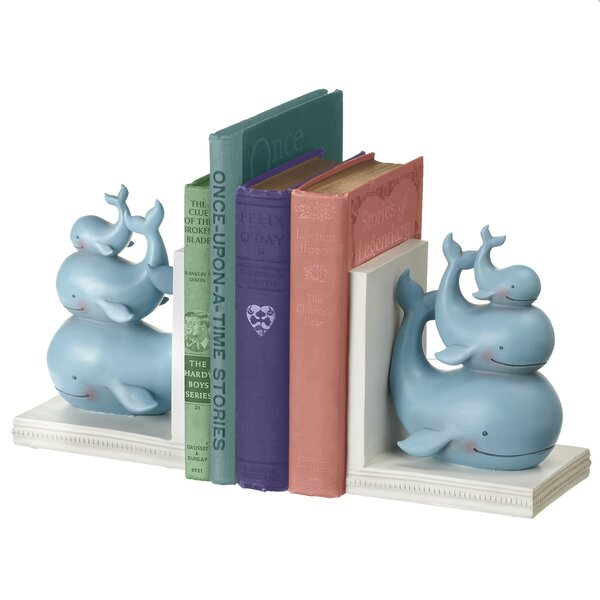 Stacked Whale Bookends (Set of 2) by Harriet Bee
