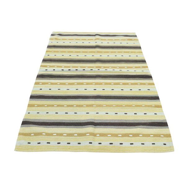 Flat Weave Reversible Striped Qashqai Kilim Hand-Knotted Ivory/Yellow/Chocolate Brown Area Rug by Bloomsbury Market