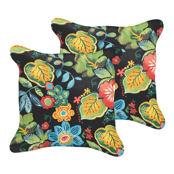 Barbuda Flange Floral Indoor/Outdoor Throw Pillow (Set of 2) by Bay Isle Home