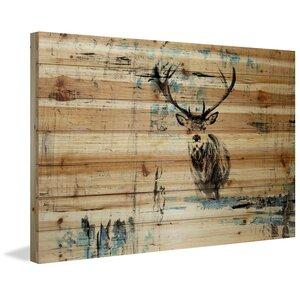 'Looking For The Herd' by Parvez Taj Painting Print on Natural Pine Wood by Parvez Taj