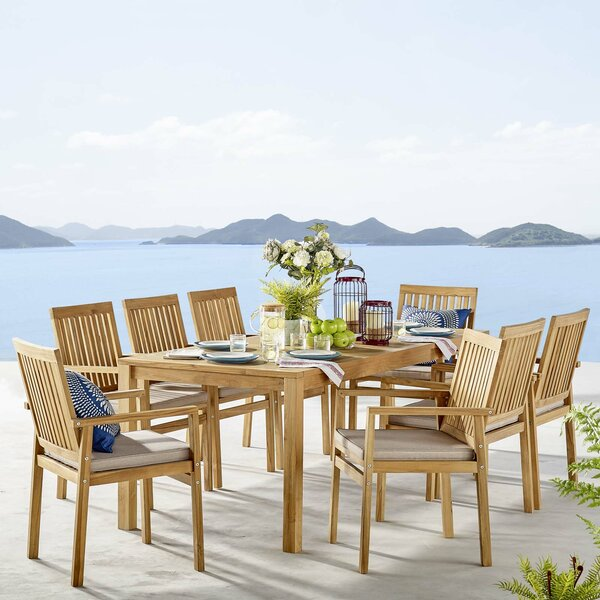 Koa Outdoor 9 Piece Teak Dining Set with Cushions by Rosecliff Heights