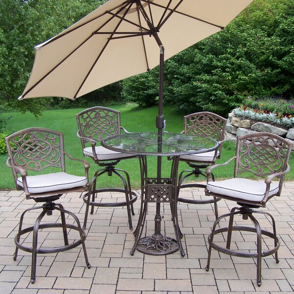 Hummingbird Mississippi 6 Piece Bar Height Dining Set with Cushions and Umbrella by Oakland Living