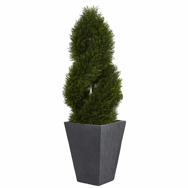 Double Spiral Artificial Floor Cypress Topiary in Planter by 17 Stories
