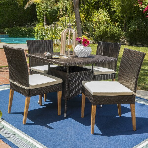 Saurabh Contemporary Outdoor 5 Piece Dining Set with Cushions by Latitude Run