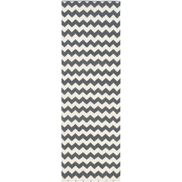 Dhurries Ivory/Charcoal Area Rug by Safavieh