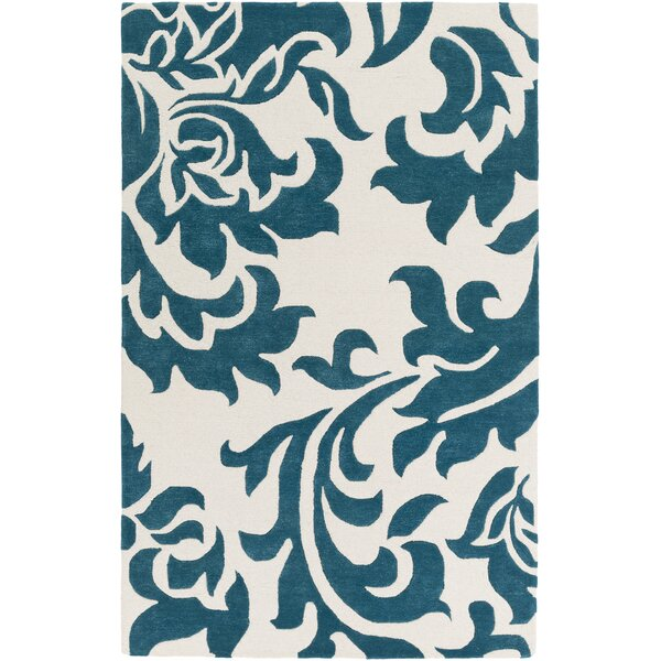 Kiesel Hand-Tufted Teal/Off-White Area Rug by Ophelia & Co.