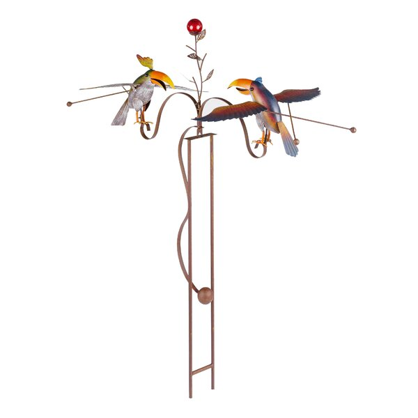 Rustic Painted Metal Balancer Two Toucans Garden Stake by Continental Art Center