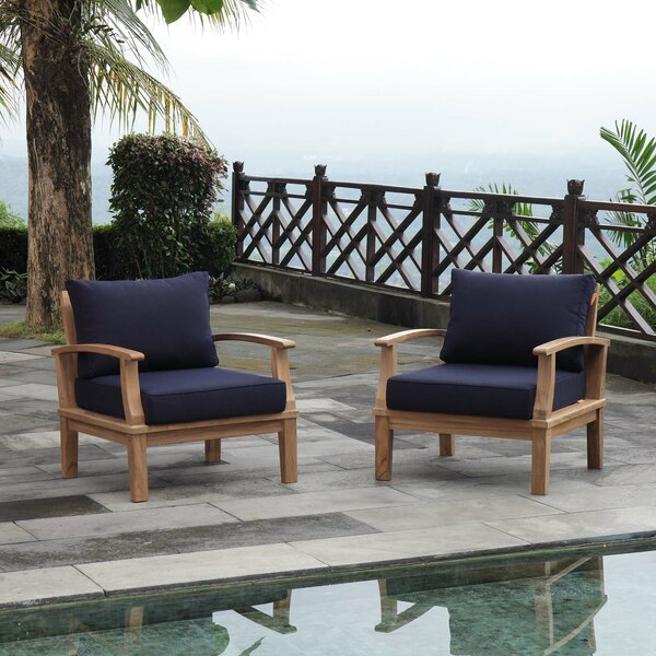 Elaina Outdoor Teak Patio Chair with Cushions (Set of 2) by Rosecliff Heights