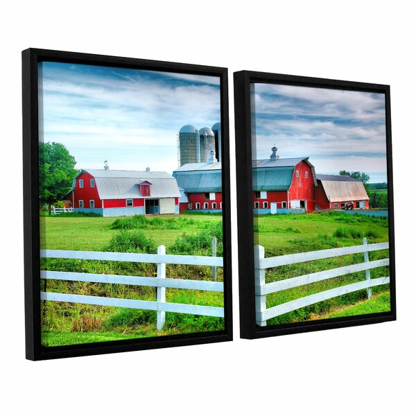 Red Barn, White Fence by Steve Ainsworth 2 Piece Framed Photographic Print Set by ArtWall