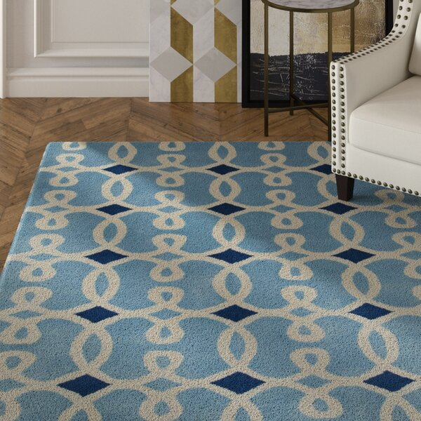 Nikisha Blue Geometric Rug by Everly Quinn