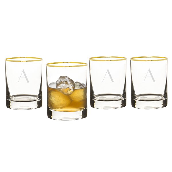 Winton Personalized Gold Rim 11 oz. Old Fashioned Glass (Set of 4) by Mint Pantry