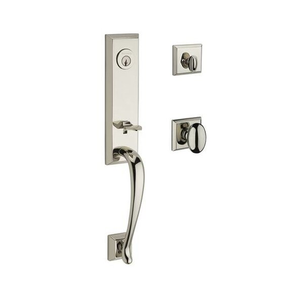 Del Mar Single Cylinder Handleset with Ellipse Door Knob and Traditional Square Rose by Baldwin