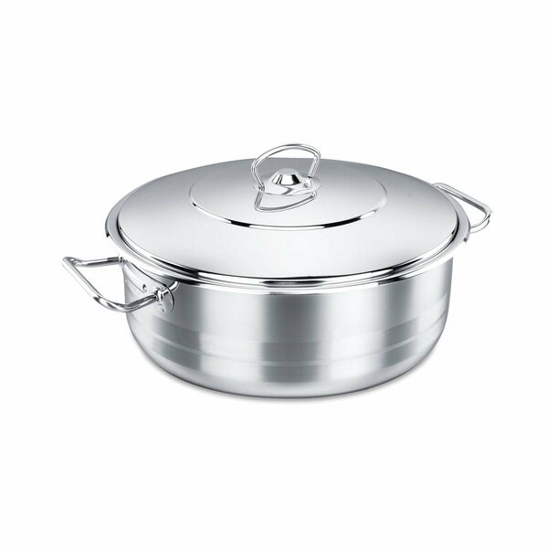 Korkmaz Shallow Stainless Steel Dutch Oven with Lid by YBM Home