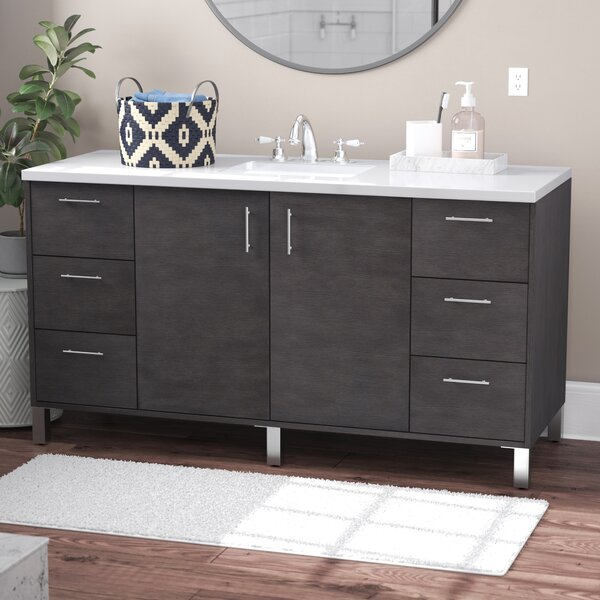 Cordie 60 Single Silver Oak Wood Base Bathroom Vanity Set by Orren Ellis