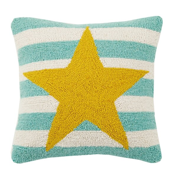 Star Stripe Hook Wool Throw Pillow by Peking Handicraft