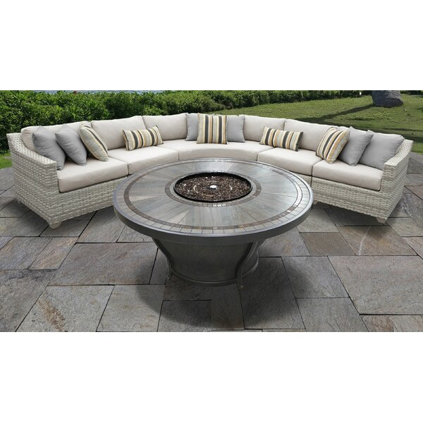 Genevieve 6 Piece Sectional Seating Group with Cushions by Rosecliff Heights