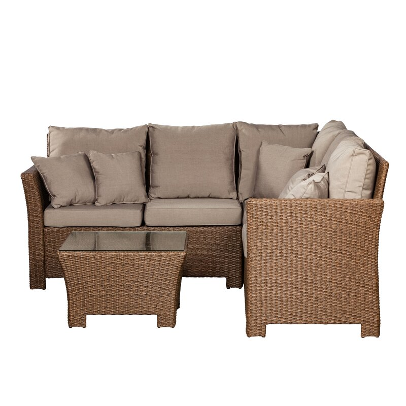 PatioSense Jarrett 2 Piece Sectional Seating Group with Cushions