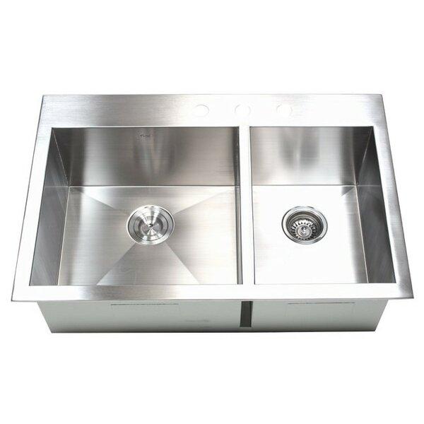 33 L x 22 W Double Bowl Kitchen Sink
