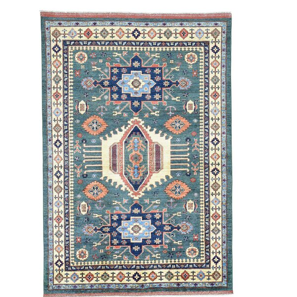 Afghan Ersari Caucasian Motifs Hand-Knotted Teal Area Rug by Bloomsbury Market
