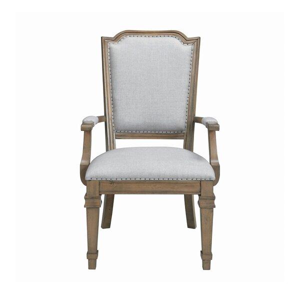 Dereham Linen Upholstered Arm Chair in Gray (Set of 2) by One Allium Way One Allium Way