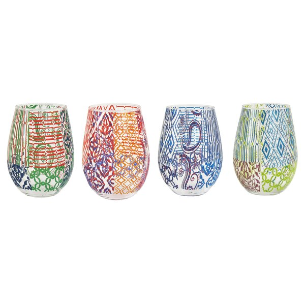 4 Piece 12 oz. Stemless Wine Glass Set by Tracy Porter