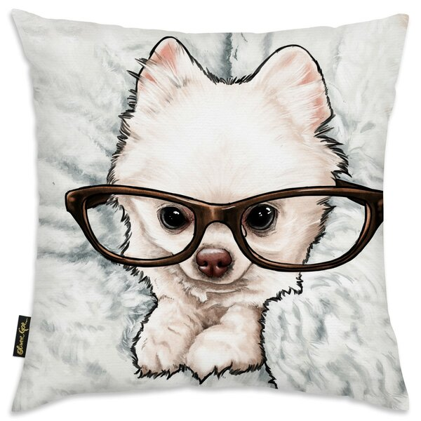 Faria Glasses and Fluff Throw Pillow by Brayden Studio