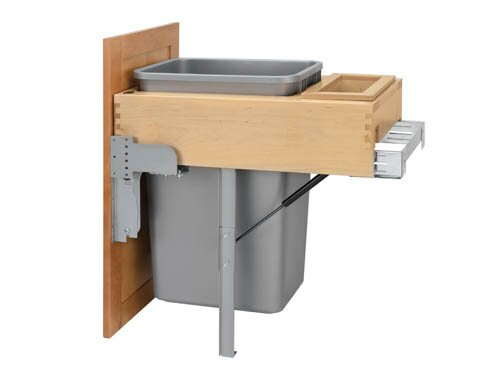 Top Mount 12.5 Gallon Stainless Steel Pull Out/Under Counter Pull Out/Under Counter Trash Can by Rev-A-Shelf