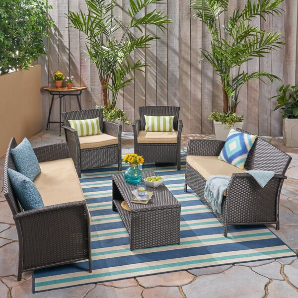 Outdoor 5 Piece Rattan Sofa Seating Group with Cushions by Charlton Home