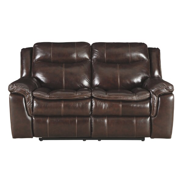 Dunnell Leather Reclining Loveseat By Millwood Pines