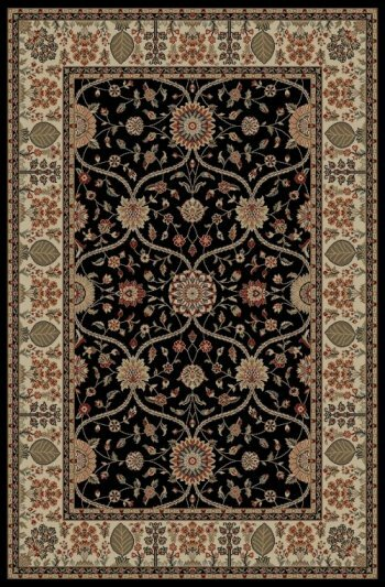 Edmont Jewel Voysey Black Floral Area Rug by World Menagerie