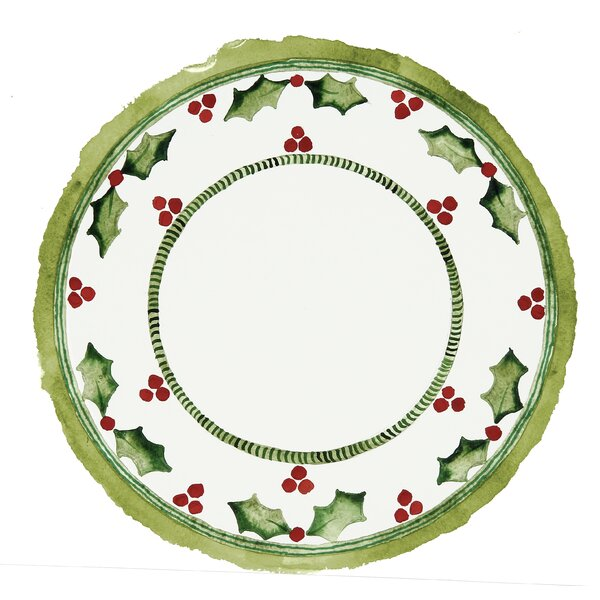 Holiday Holly Melamine 13 Piece Dinnerware Set, Service for 4 by Encore Concepts