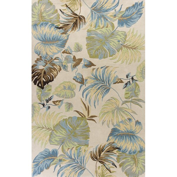 Imala Hand-Tufted Ivory/Blue Area Rug by Beachcrest Home