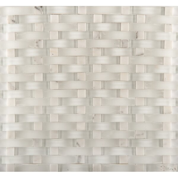 Lucente 12 x 13 Glass Stone Blend Wave Mosaic Tile in Andrea by Emser Tile