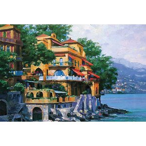 Portofino Villa by Howard Behrens Painting Print on Canvas by Printfinders