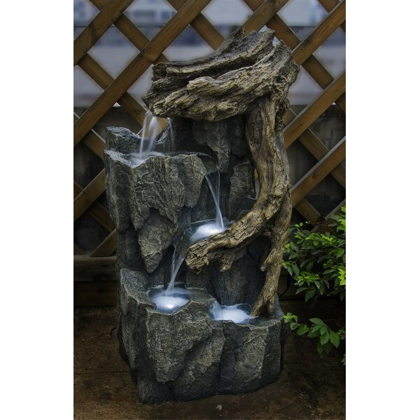 Resin/Fiberglass  Tree Trunk and Rocks Fountain with LED Light by Jeco Inc.