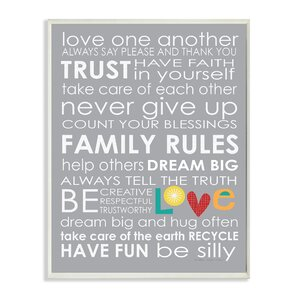 The Kids Room Family Rules Textual Art Wall Plaque by Stupell Industries