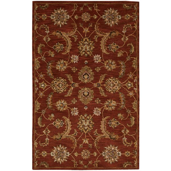 Cortese  Hand-Woven Red/Brown Area Rug by Charlton Home