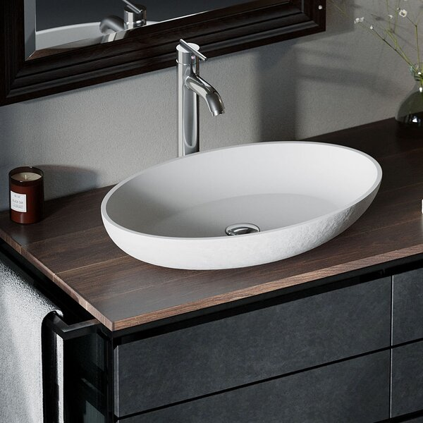 Composite Oval Vessel Bathroom Sink with Faucet