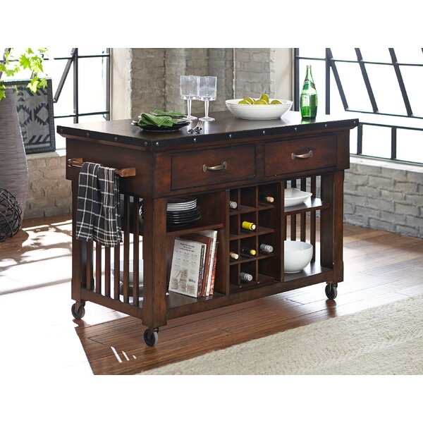 Cleo Wooden Kitchen Cart by Millwood Pines
