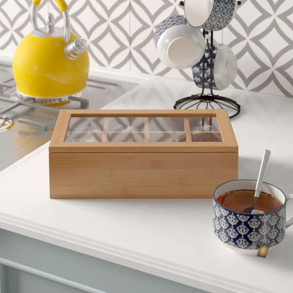 Erdman 8 Compartment Tea Box with Acrylic and Erdman Lid by Rebrilliant