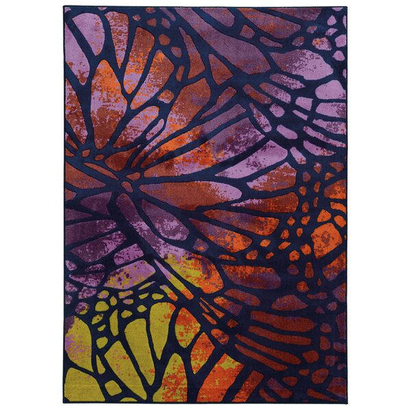 Prismatic Abstract Purple/Orange Area Rug by Pantone Universe