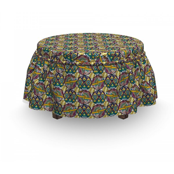 Asian Boho Mandala Patchwork 2 Piece Box Cushion Ottoman Slipcover Set By East Urban Home