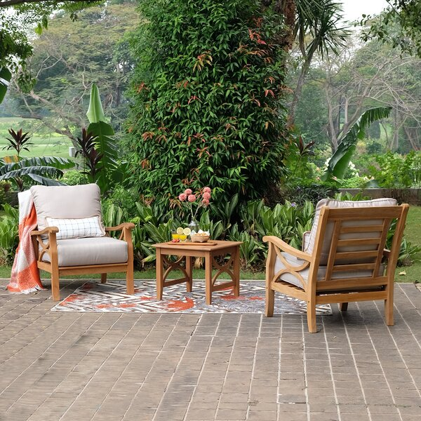 Brunswick 3 Piece Teak Seating Group With Cushion by Birch Lane™ Heritage