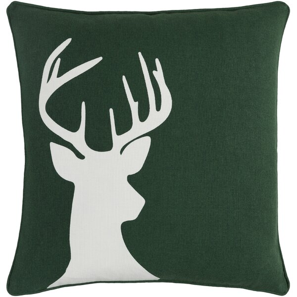 Pirtle Deer Cotton Throw Pillow Cover by Loon Peak